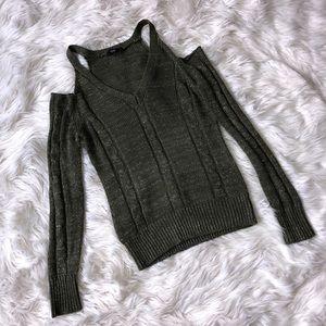 Bebe Cold Shoulder Metallic Sweater